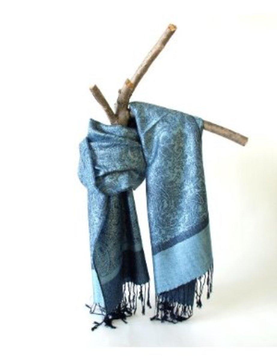 Patterned pashmina scarf.