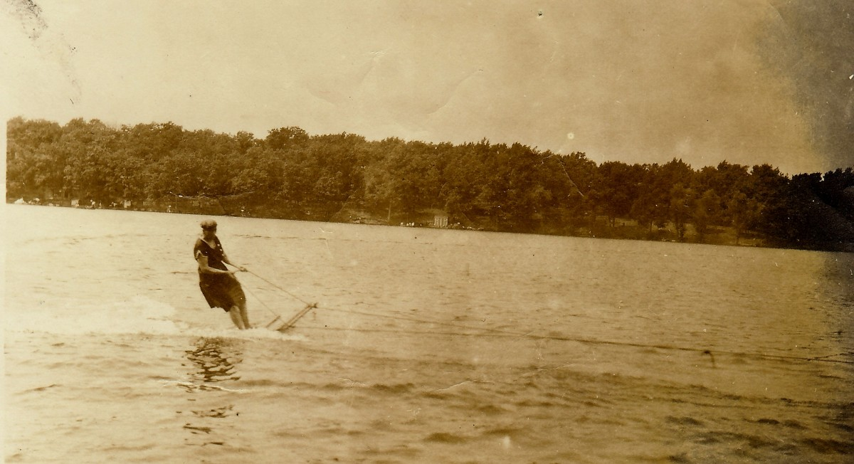 My great-grandmother water skiing on Okauchee Lake