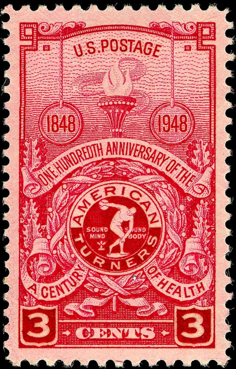 United States postage stamp commemorating the centenary of the American Turners. Date 1948