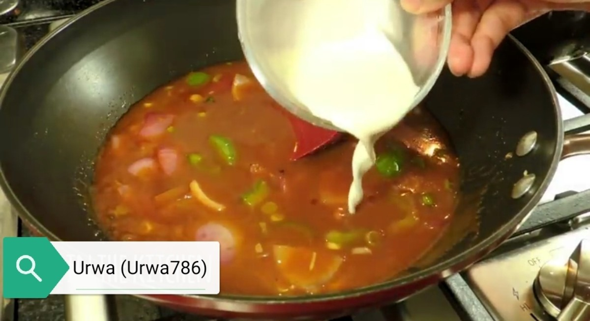 Add Chicken in the gravy and add cornflour mixture slowly and keep stirring constantly to avoid lumps