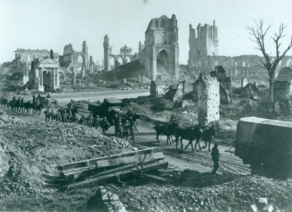 Australian troops pass through shattered Ypres on their way to the front line.
