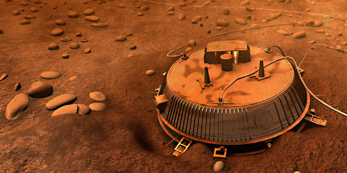 Artist's Impression of the Huygens Probe on the surface of Titan