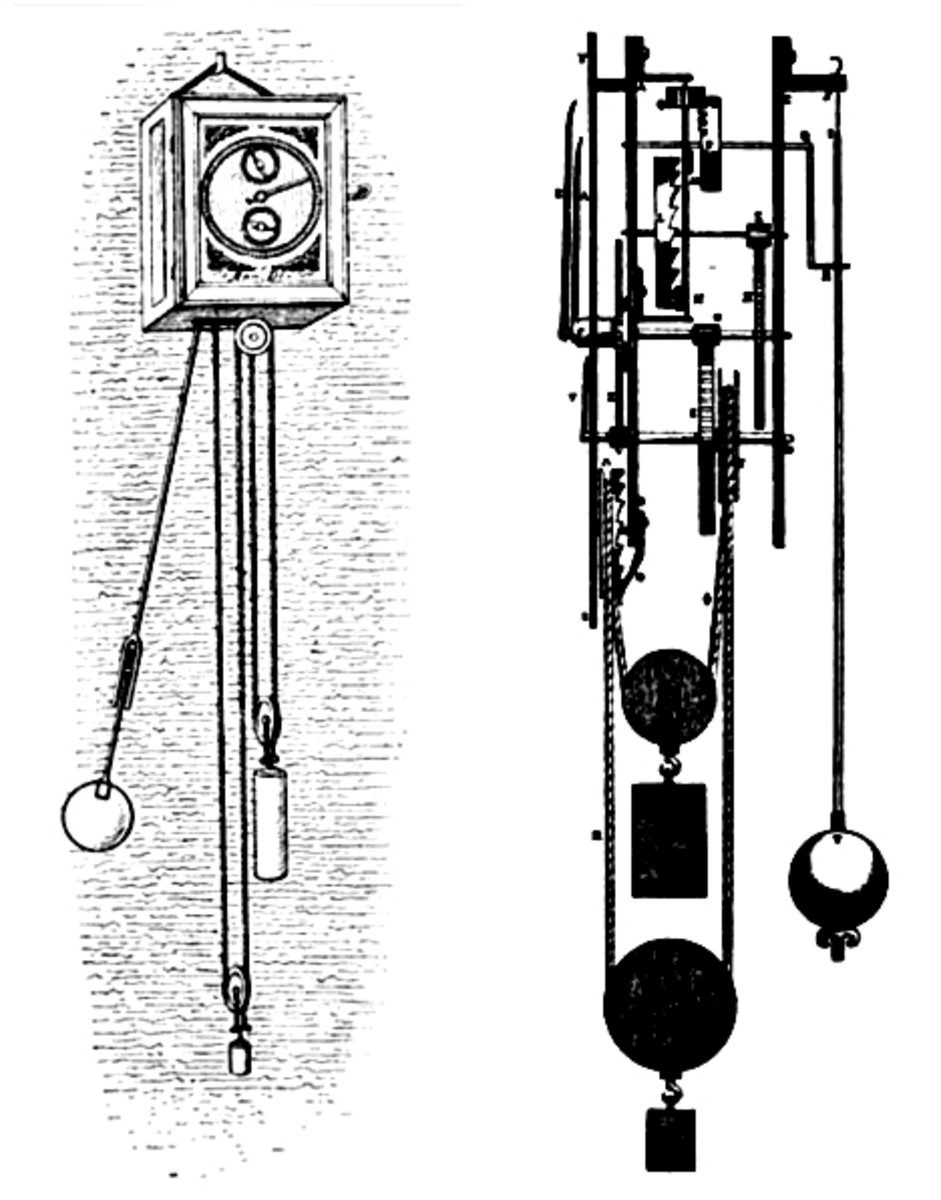 Huygen's pendulum clock, and its mechanism in profile, designed in 1656