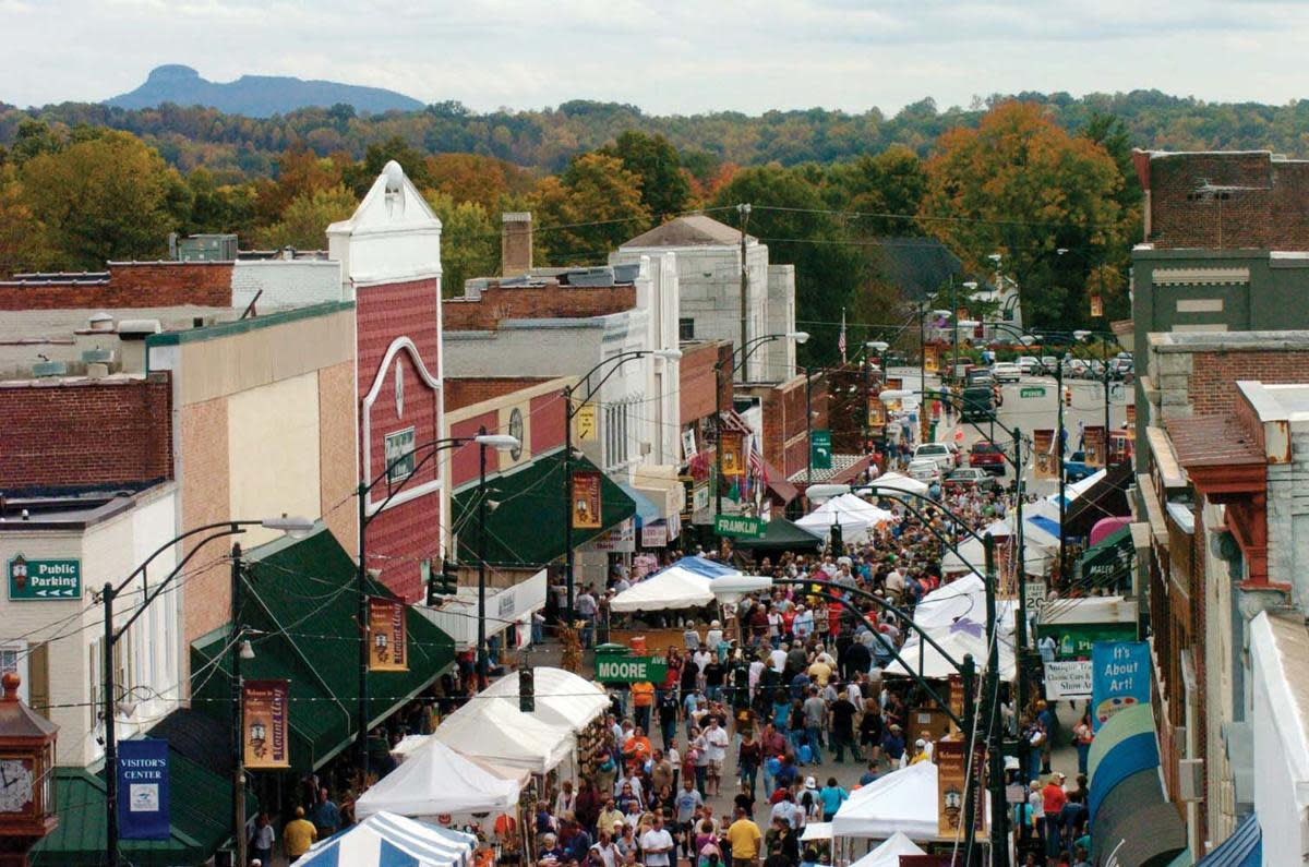 The streets are packed during the Autumn leaves Festival.
