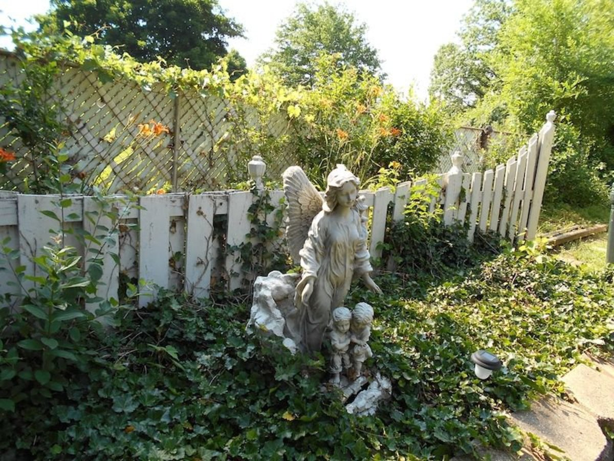 Guardian angel statue in the raised garden in the back
