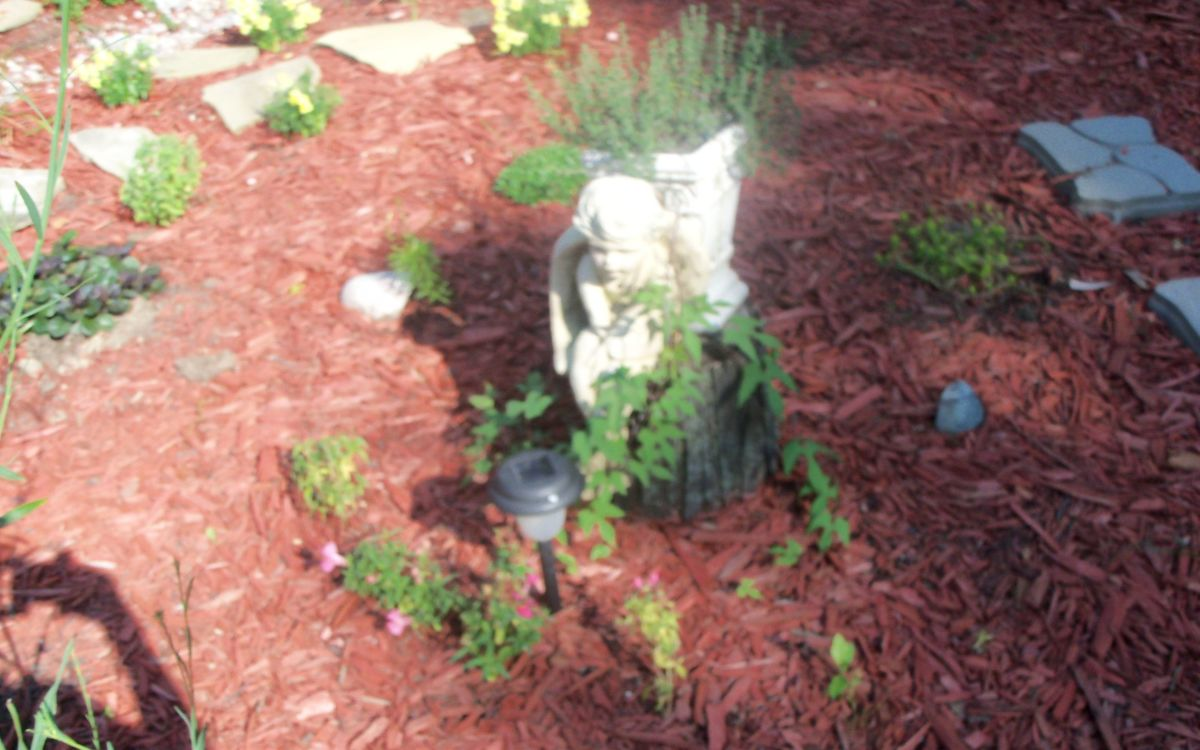 angel planter on small stump plant stand