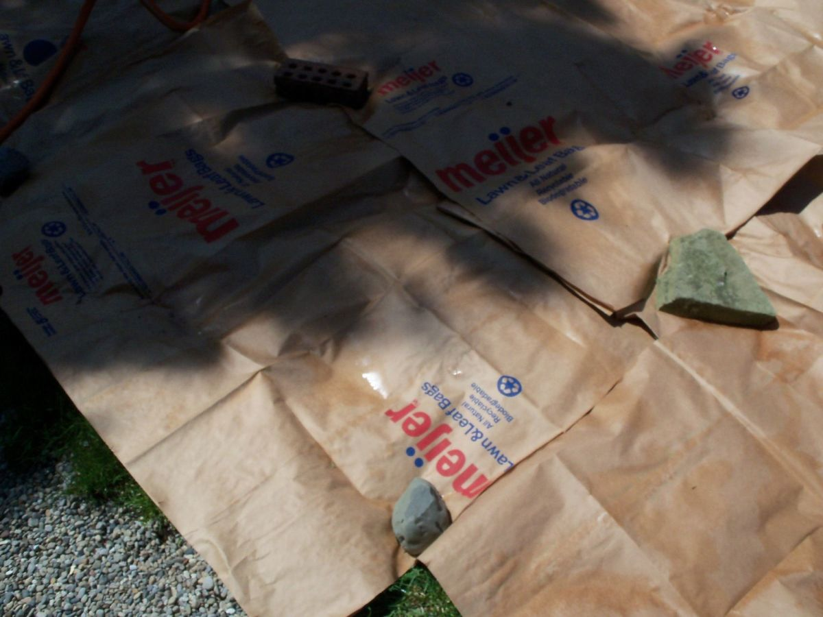 Used rocks and stones to hold down the paper while waiting for soil delivery