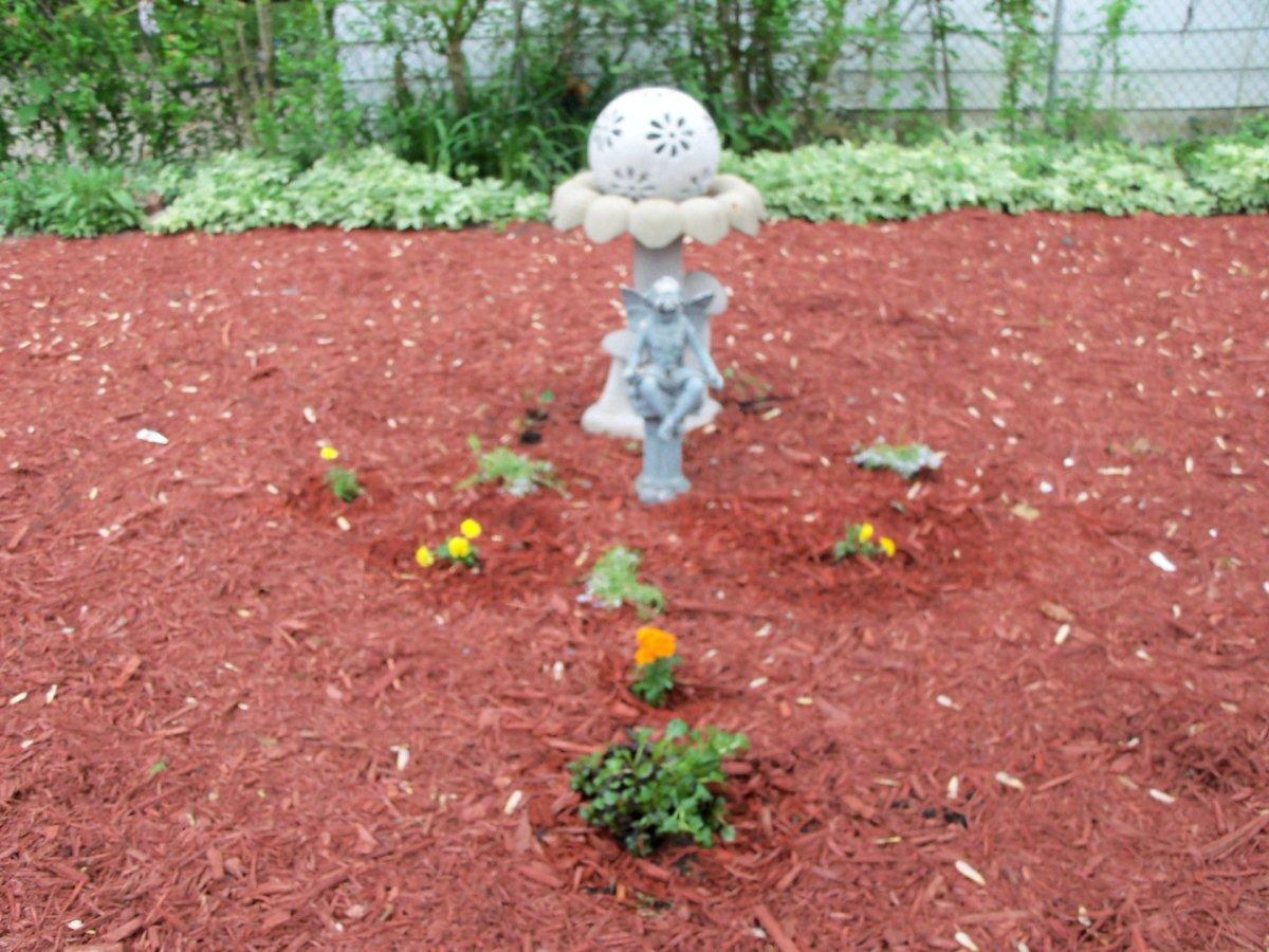 began the first garden focal point with a birdbath, a garden ball and a garden statue