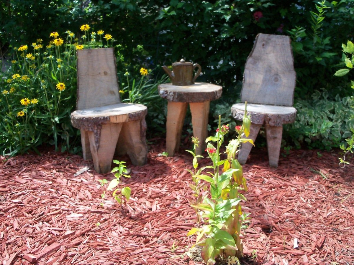 table for two- created from pieces of a tree trunk- no nails or screws!