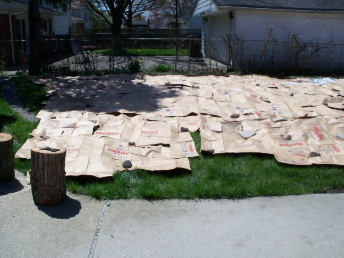 Lawn waste bags were easier to spread and cover more space
