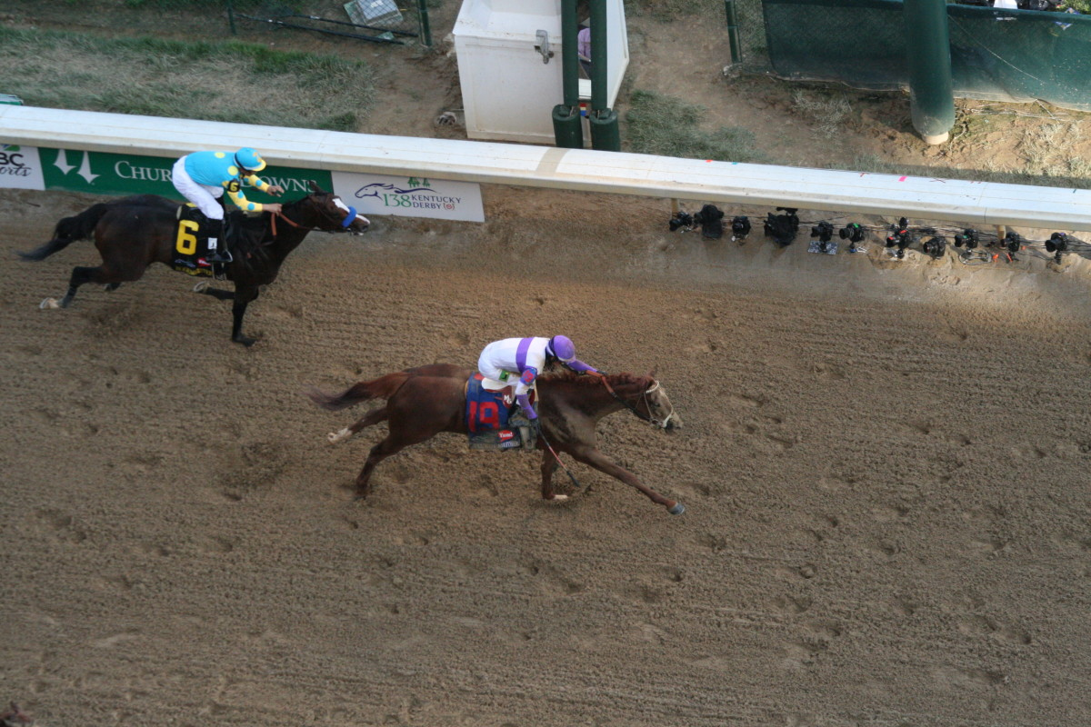 2012 Winner - I'll Have Another crosses the Kentucky Derby finish line