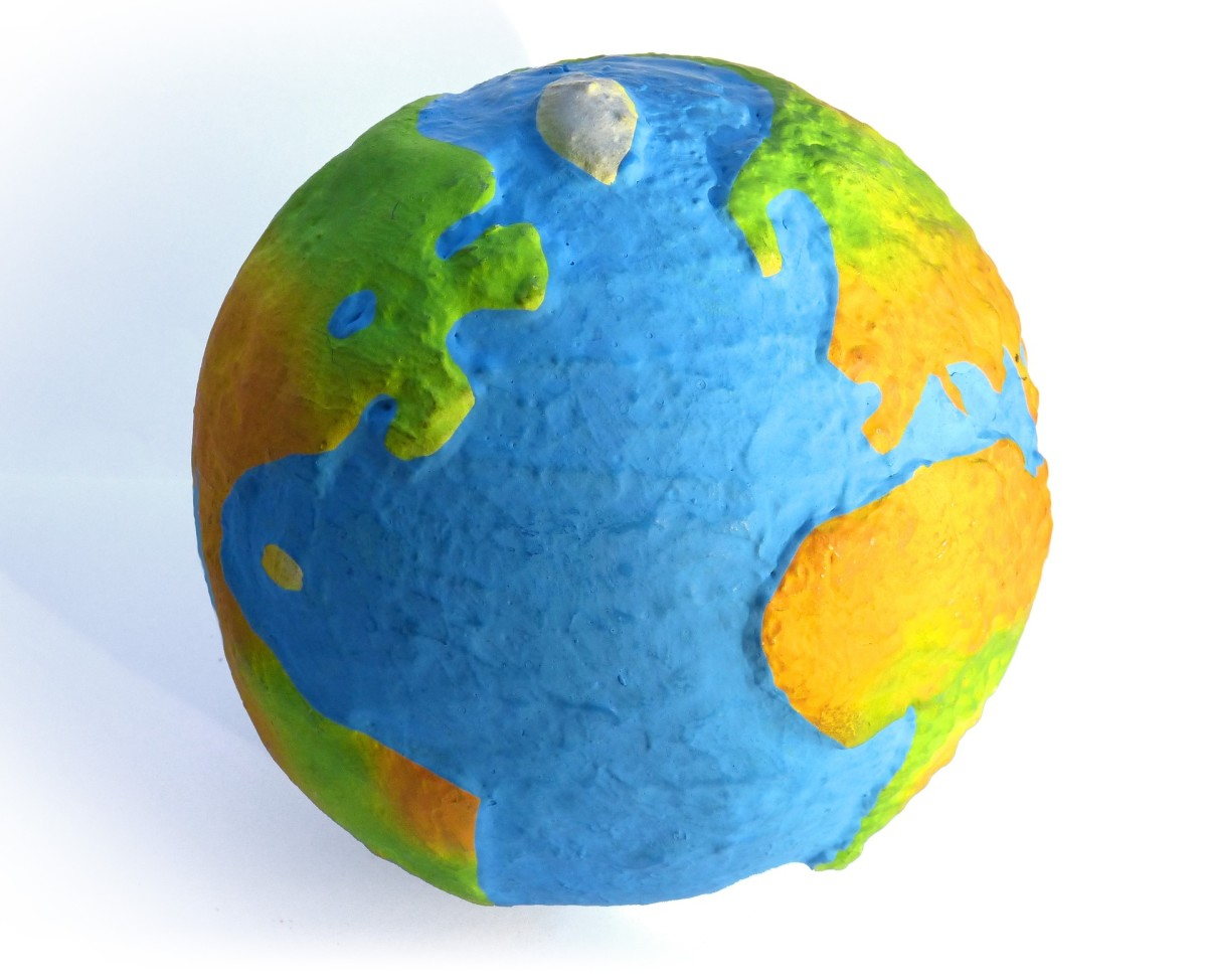 A world globe made of paper mache.