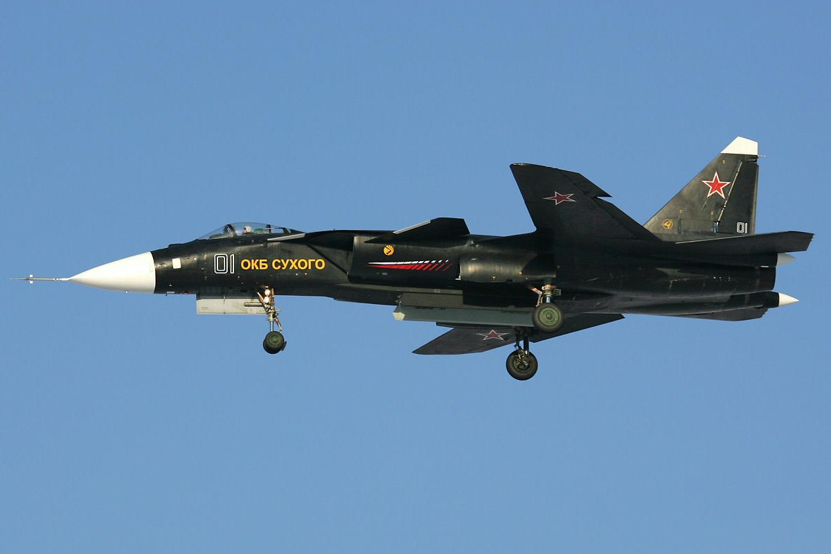 The SU-47 in flight.