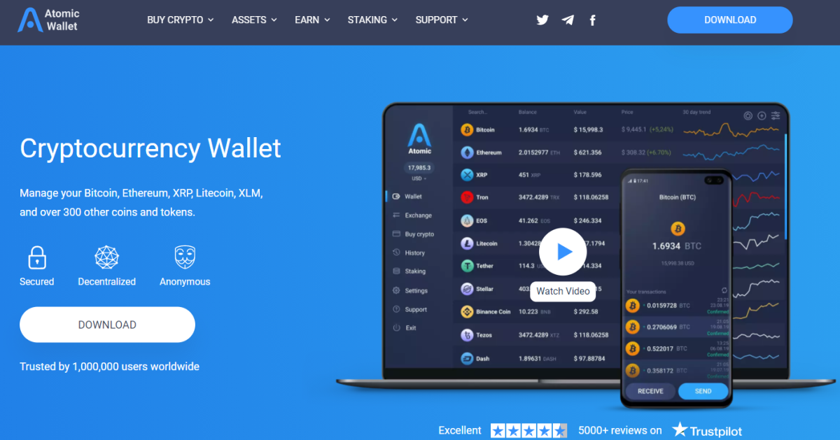 This is what the Atomic Wallet interface looks like.