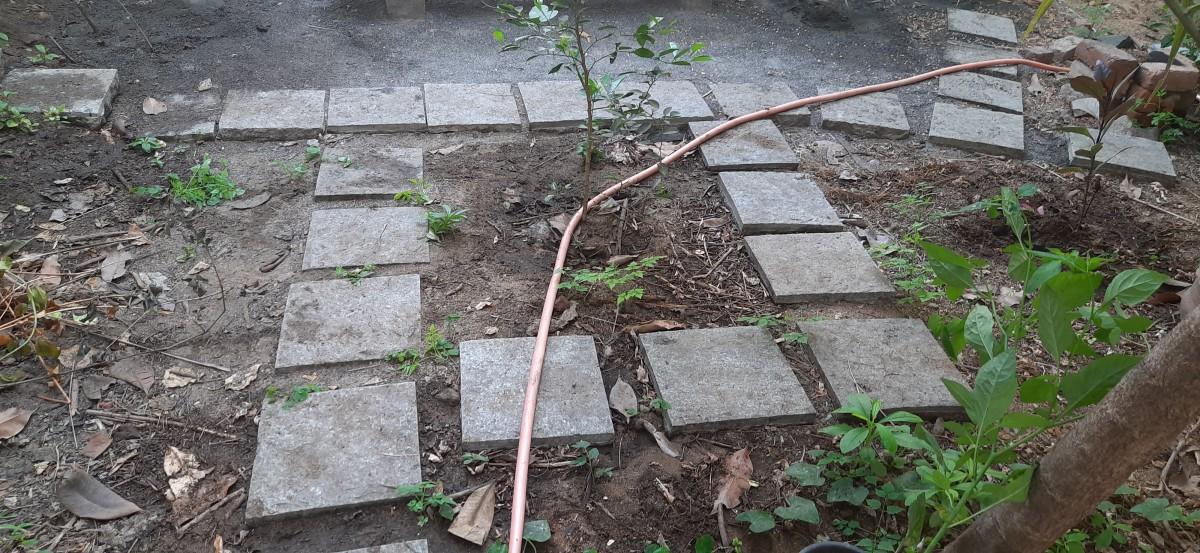 Garden path made of stone blocks