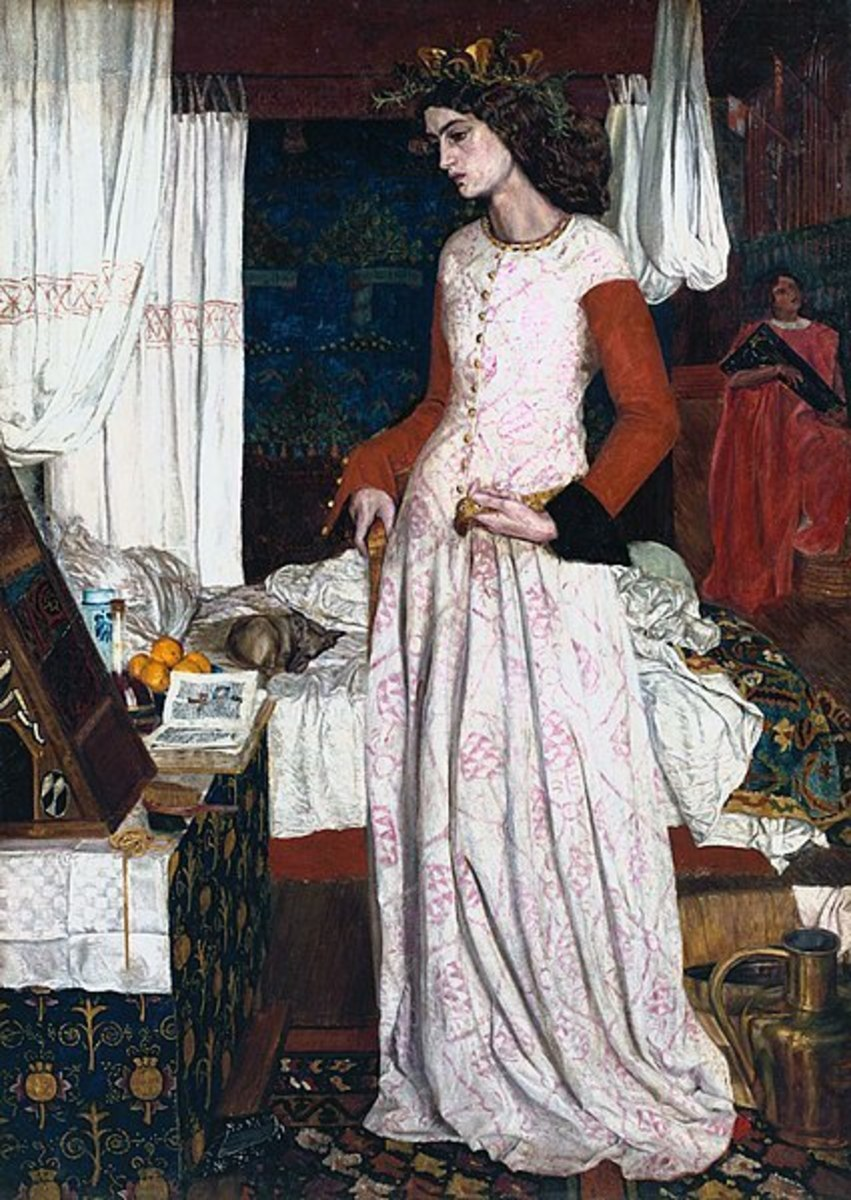 """This is the only completed easel painting that William Morris produced. It is a portrait in medieval dress of Jane Burden, whom Morris married in April 1859.  La Belle Iseult (formerly known as Queen Guenevere)"