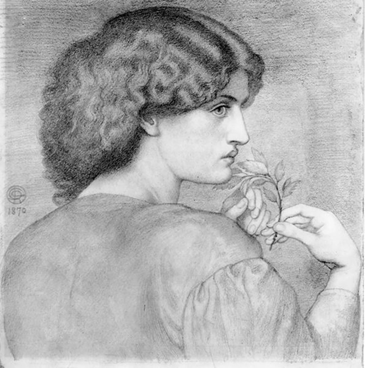 The Roseleaf by Dante Gabriel Rossetti.  Depicting Jane Morris with whom Rossetti was in love. The remote, melancholy tenor of the image seems to foreshadow their doomed affair.