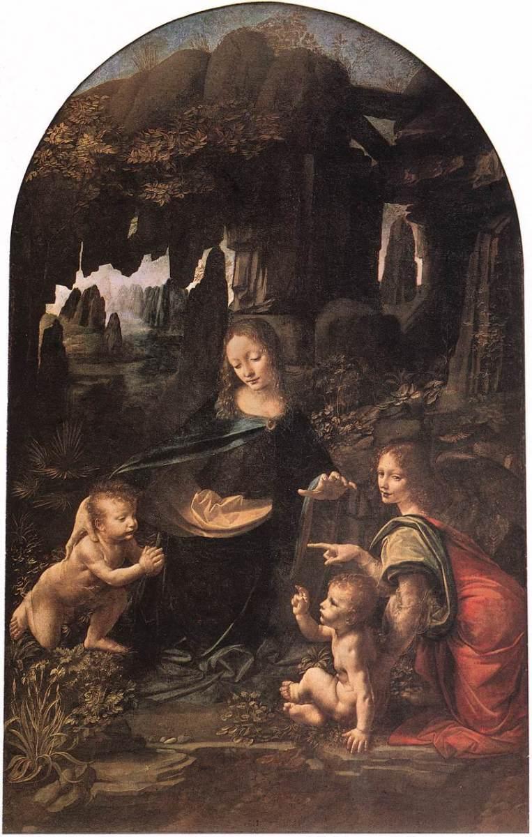 Virgin on the Rocks painted on wood panel