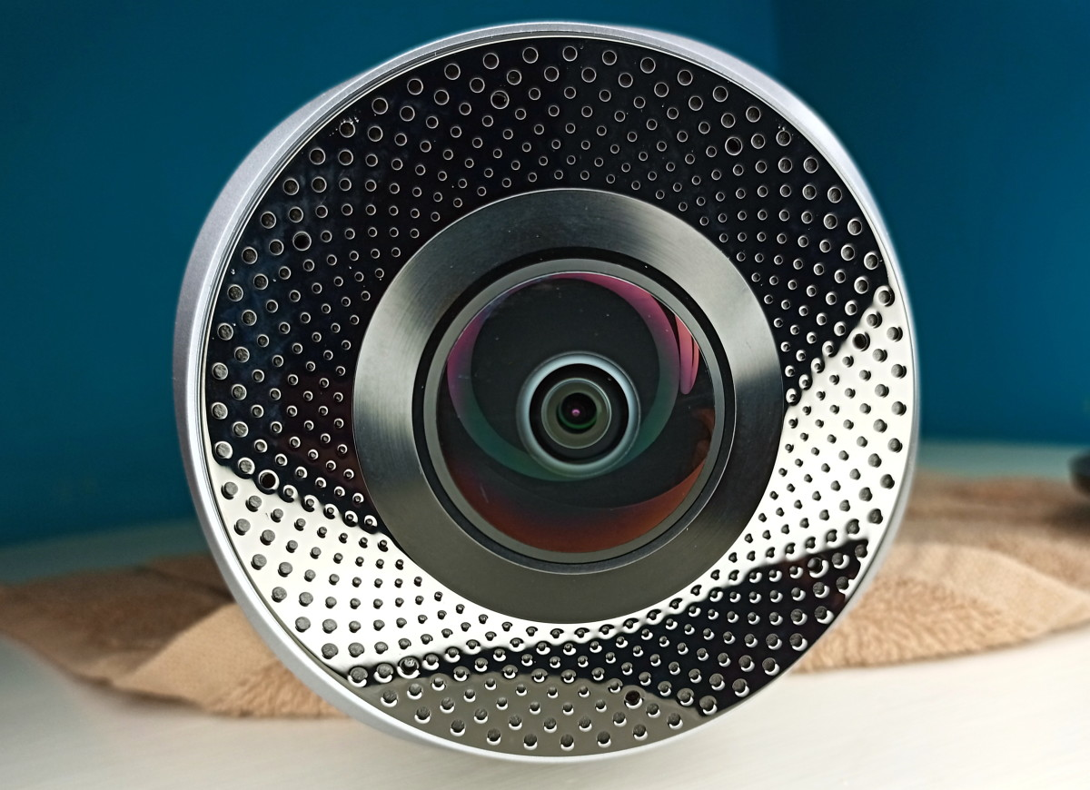 Fisheye lens and four microphones
