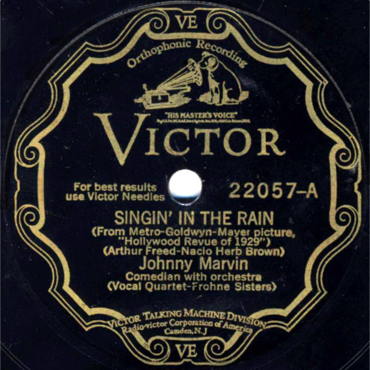 The Frohne Sisters sang backup to Johnny Marvin for this 78 RPM RCA Victor label