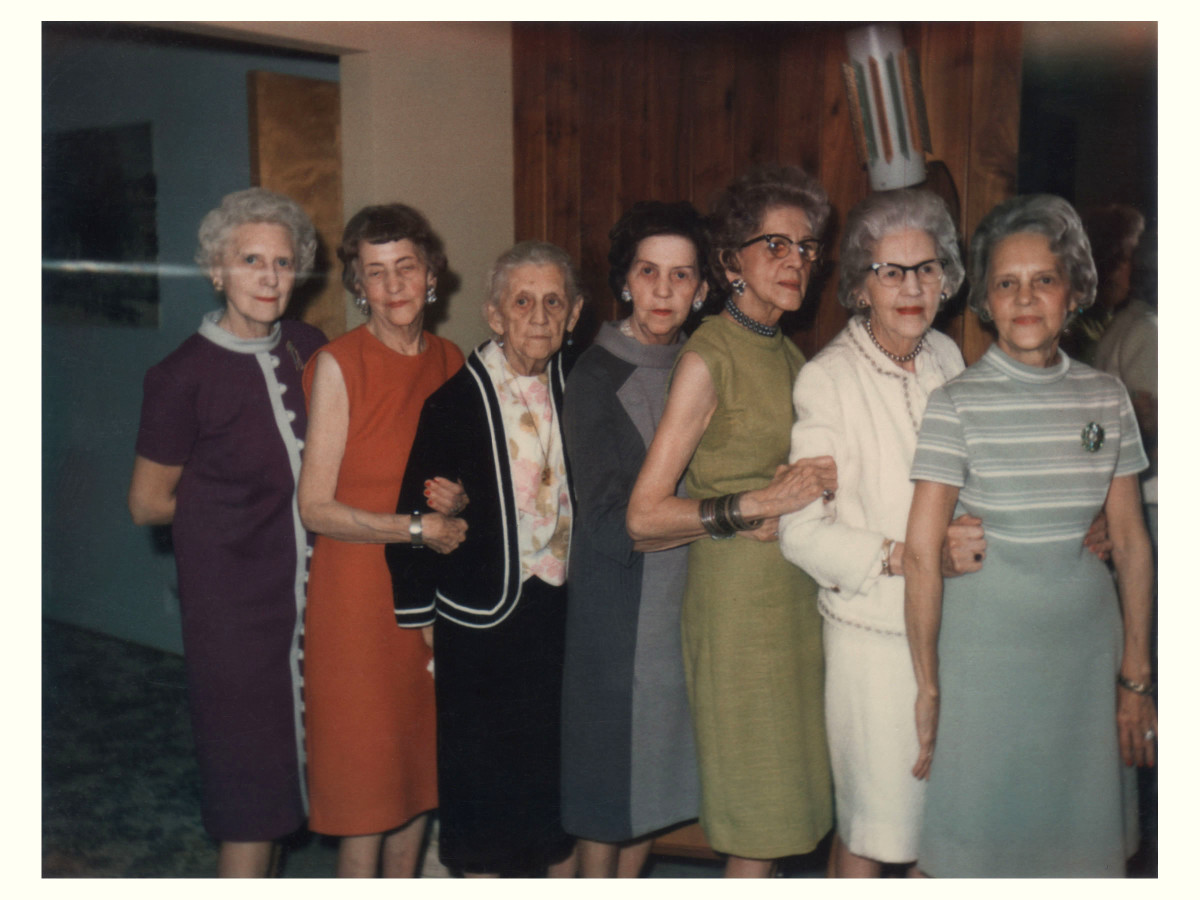 """Left to Right: Unknown, Hilda (Fritzie), My great grandmother Martha, Alma (Billie), Lenora (""""L""""), Unknown, Frieda (Bunny)"""
