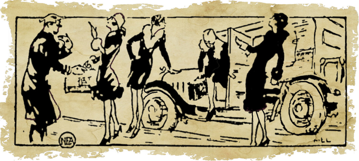 Artist's conception from 1929 Ottowa Citizen  of the Frohne Sisters arriving in New York