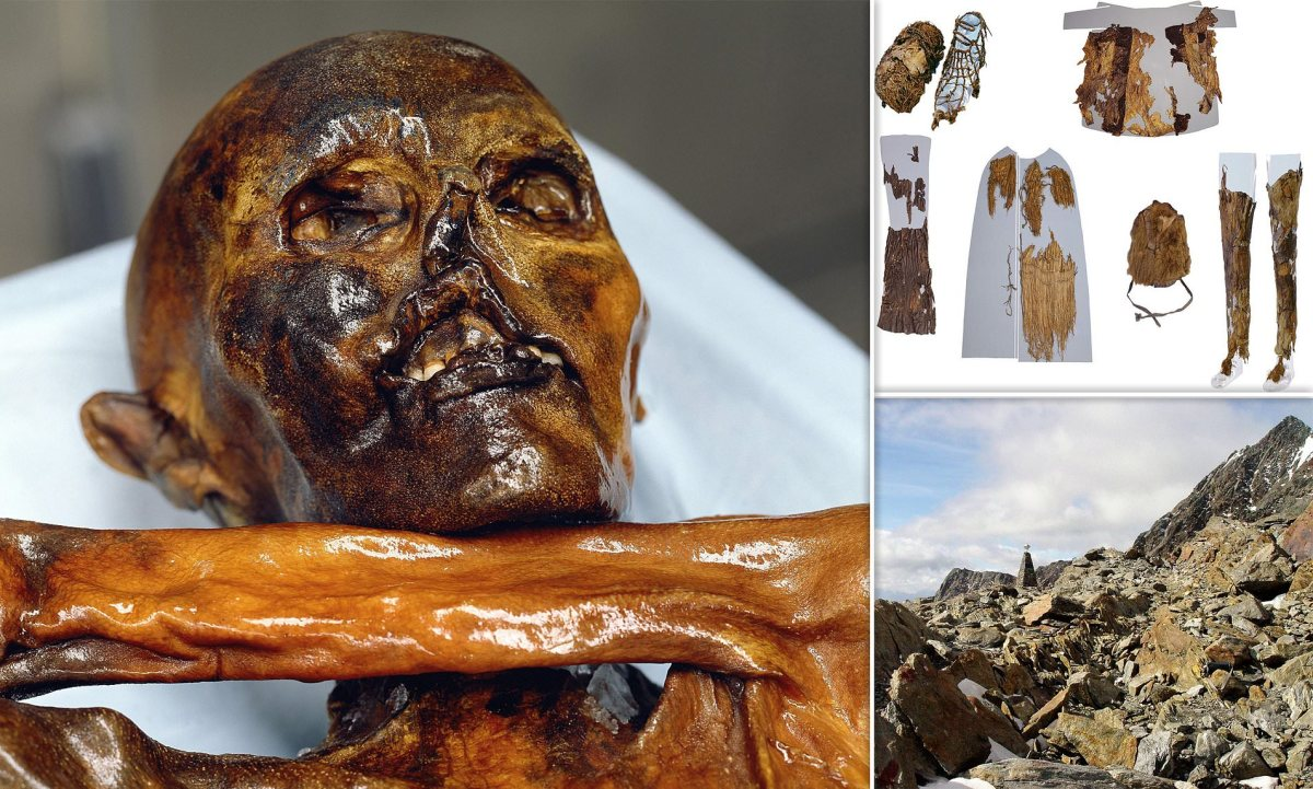 The perfectly preserved body of Ötzi, the iceman