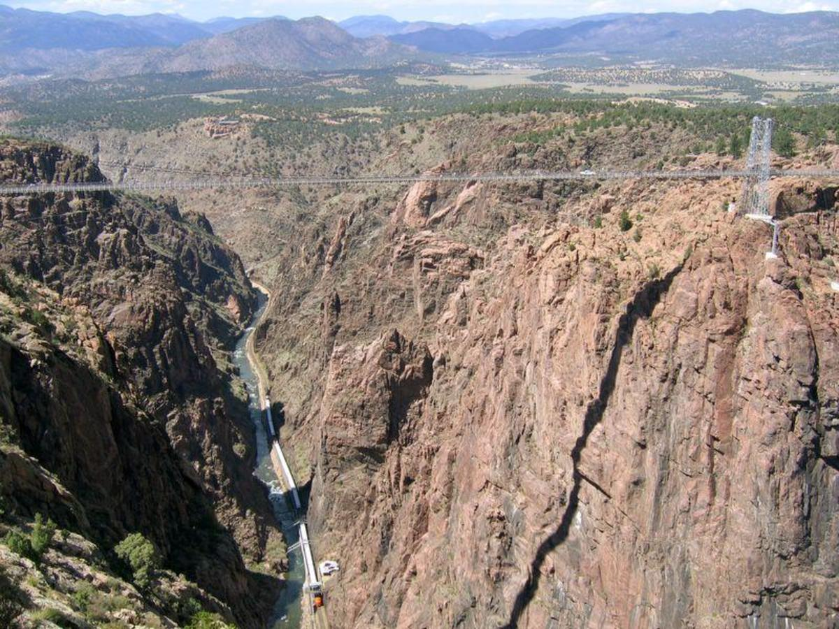 Royal Gorge Bridge in Colorado.  Its roadbed is a few meters higher than that of the Millau Viaduct which allows it to continue to hold title of highest bridge in the world based upon height of roadbed.