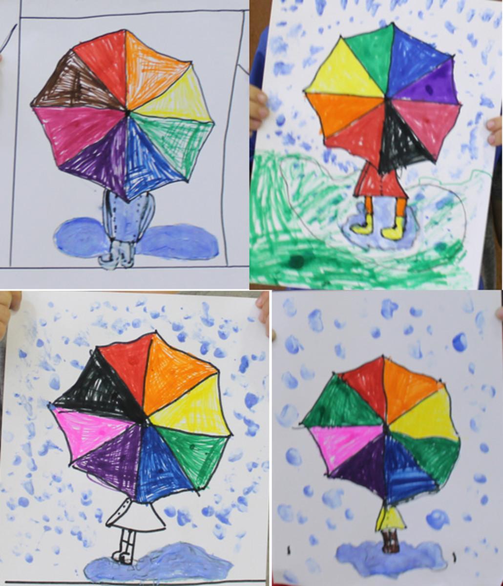 April Showers Umbrella Drawing Project