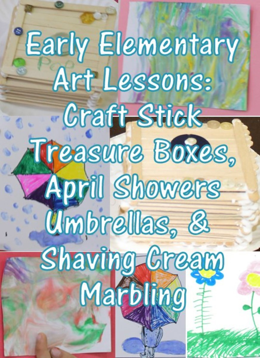 Early Elementary Art Lessons: Craft Stick Treasure Boxes, April Showers Bring May Flowers Umbrellas, & Shaving Cream Marbling