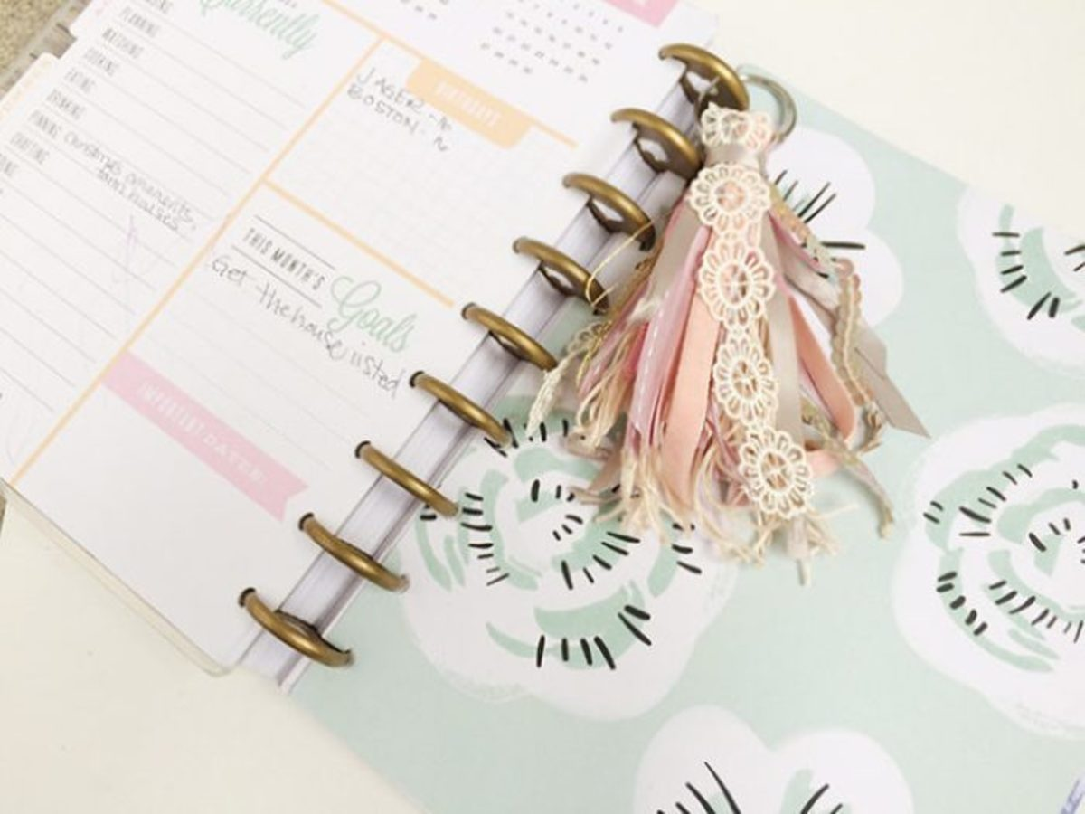 You can use those bits of ribbon that you may have to create this keychain. I would also consider using it in a planner, or in a journal.