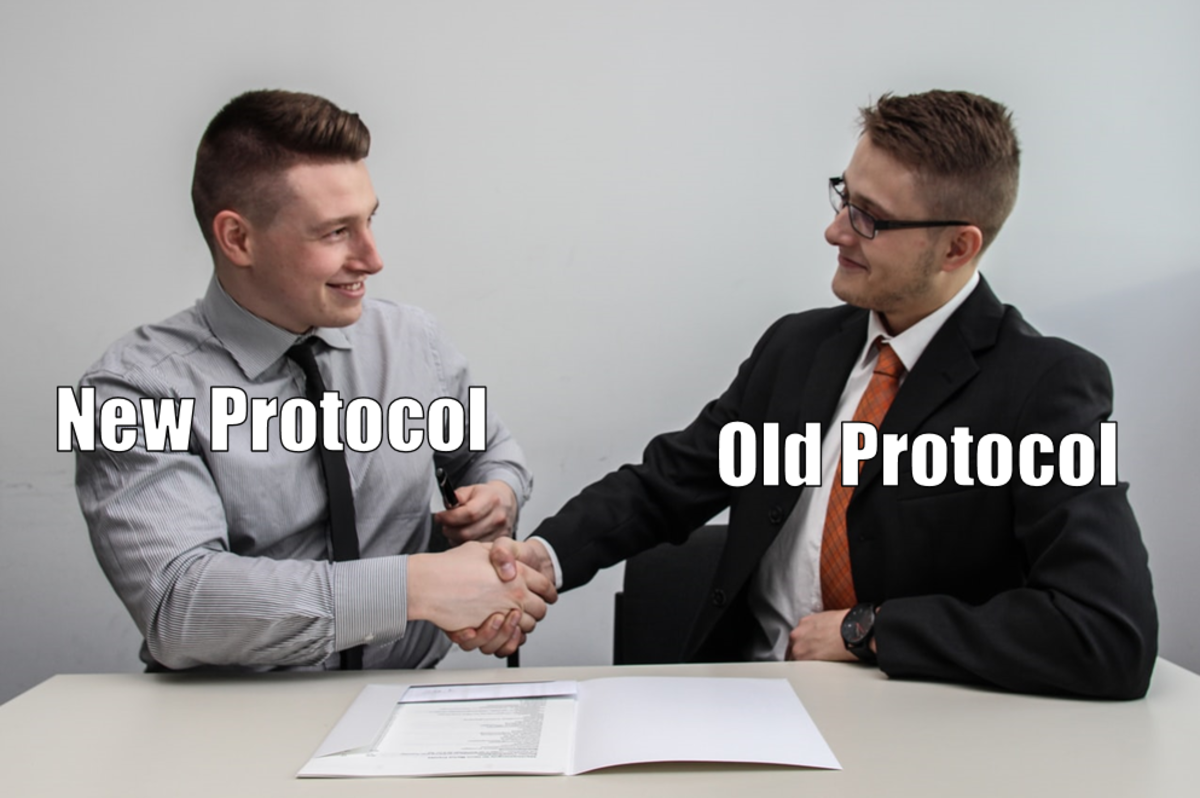 A soft fork allows an old protocol and a new protocol to be followed simultaneously.