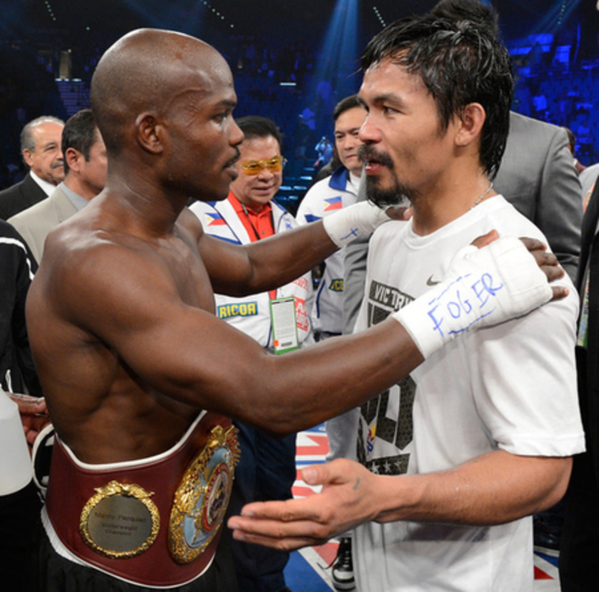 Timothy Bradley left with the WBO welterweight title after his controversial split decision victory over Manny Pacquiao.