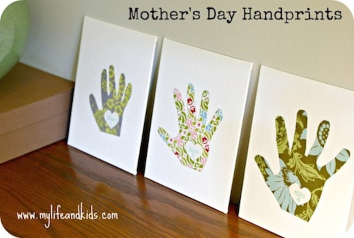 Canvas Handprint Gift for Mothers Day