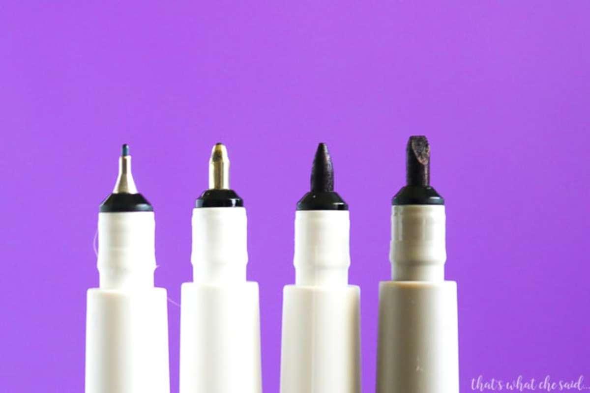 Left to right-0.4 fine tip, 0.8 gel tip, 1.0 medium tip, 2.0 calligraphy tip