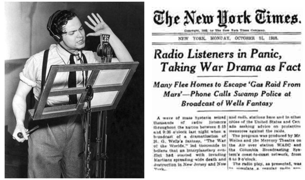 Welles first made a name for himself with his Mercury Theatre War of the Worlds radio broadcast, which really ended up being a pretentious, large scale version of Punk'd.