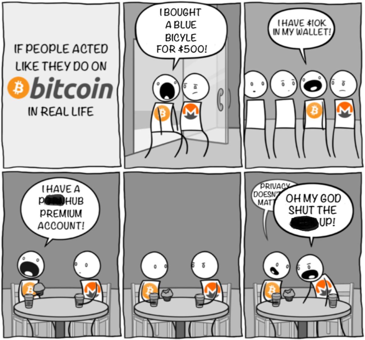 This cartoon makes light of Bitcoin's lack of privacy.