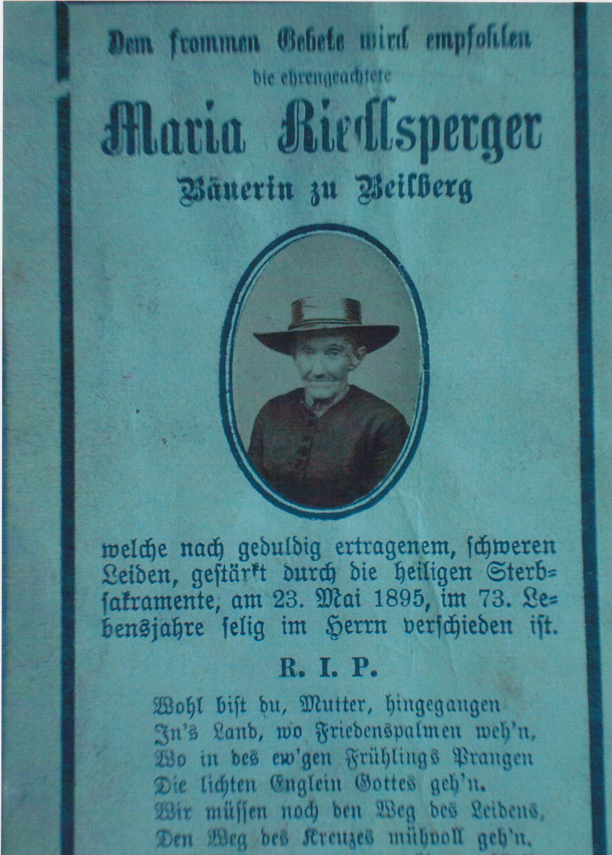 Death card for Maria Riedelsperger.