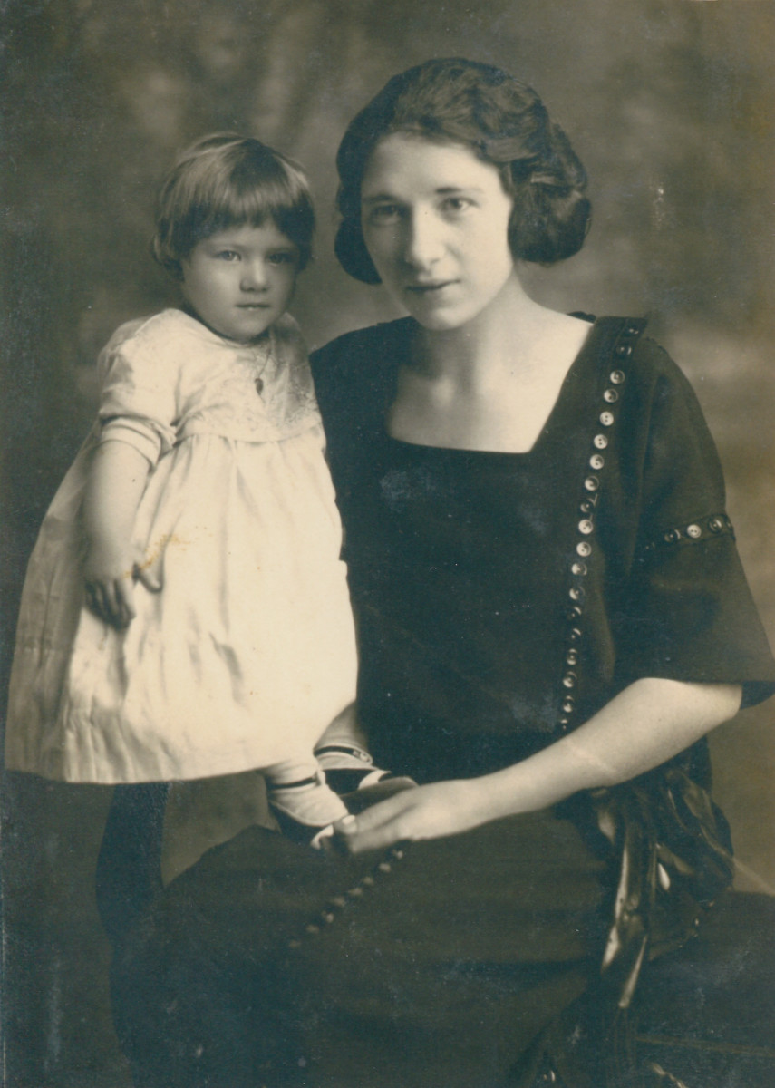 Mom at age of one with her mom.  Picture taken around 1921.