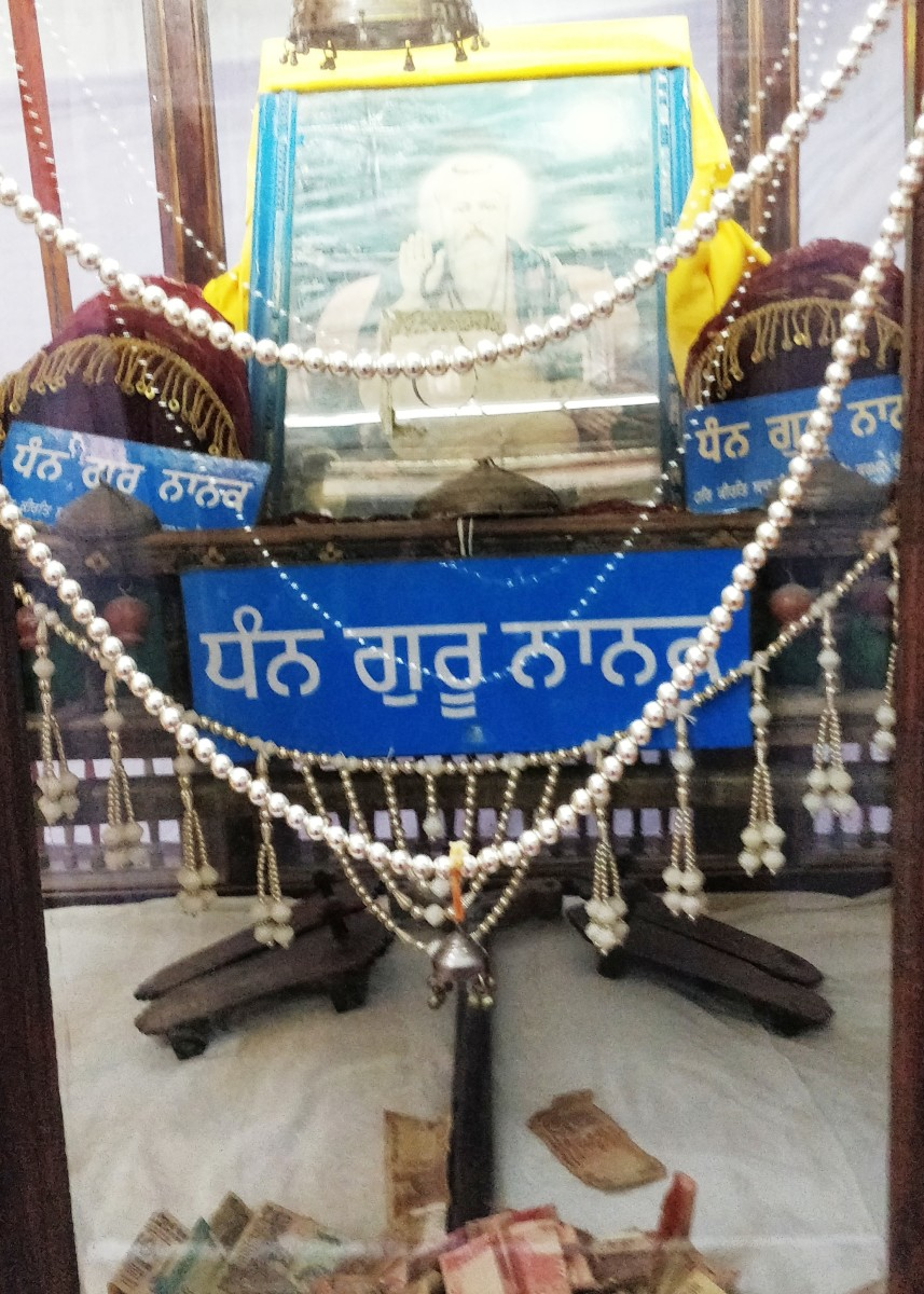 The wooden shoes of Guru Nanak-ji (on the right) and of his son (on the left); Gurudwara Pehle Patshai, Lakhpat