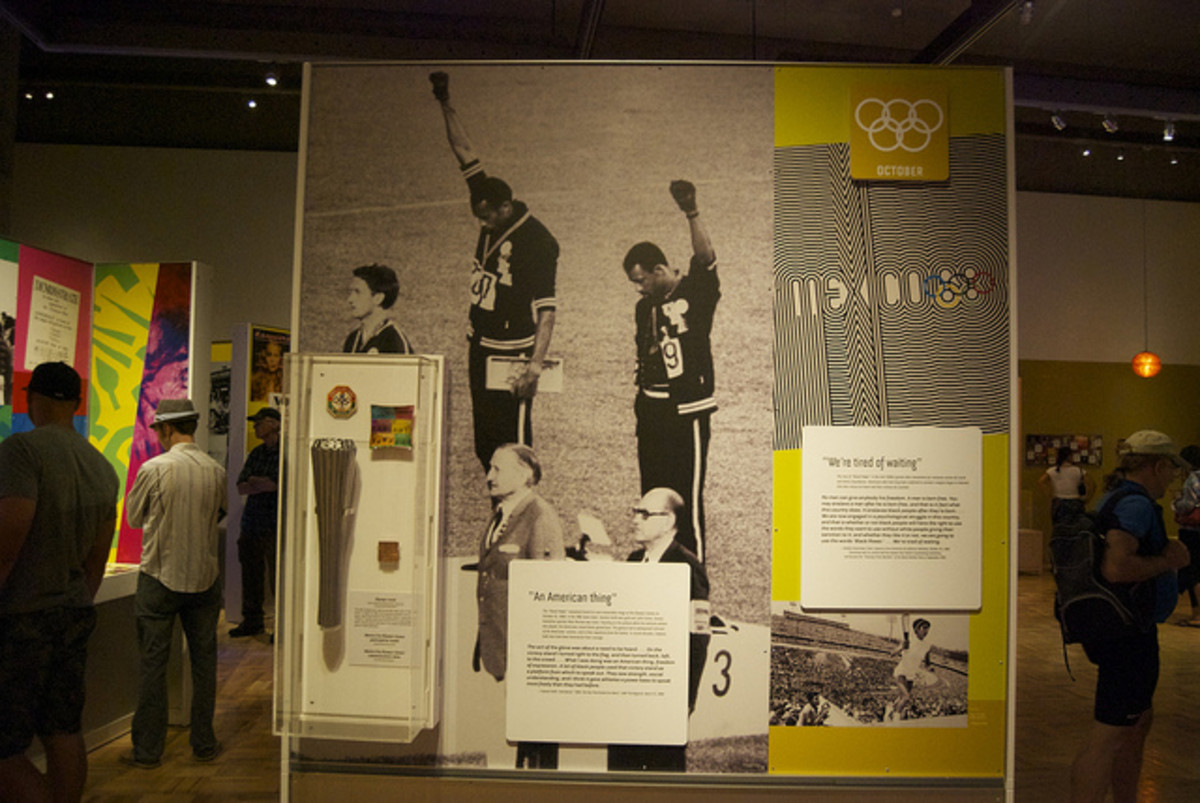 Black Power salute by 1968 US medalists. Oakland, California Museum.