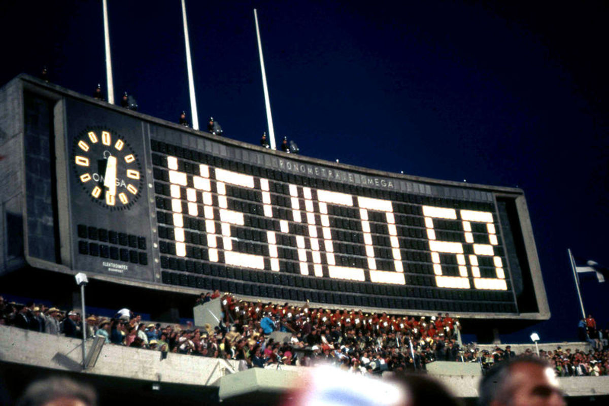 Opening of the 1968 Summer Olympic Games at the Estadio Olímpico Universitario in Mexico City.