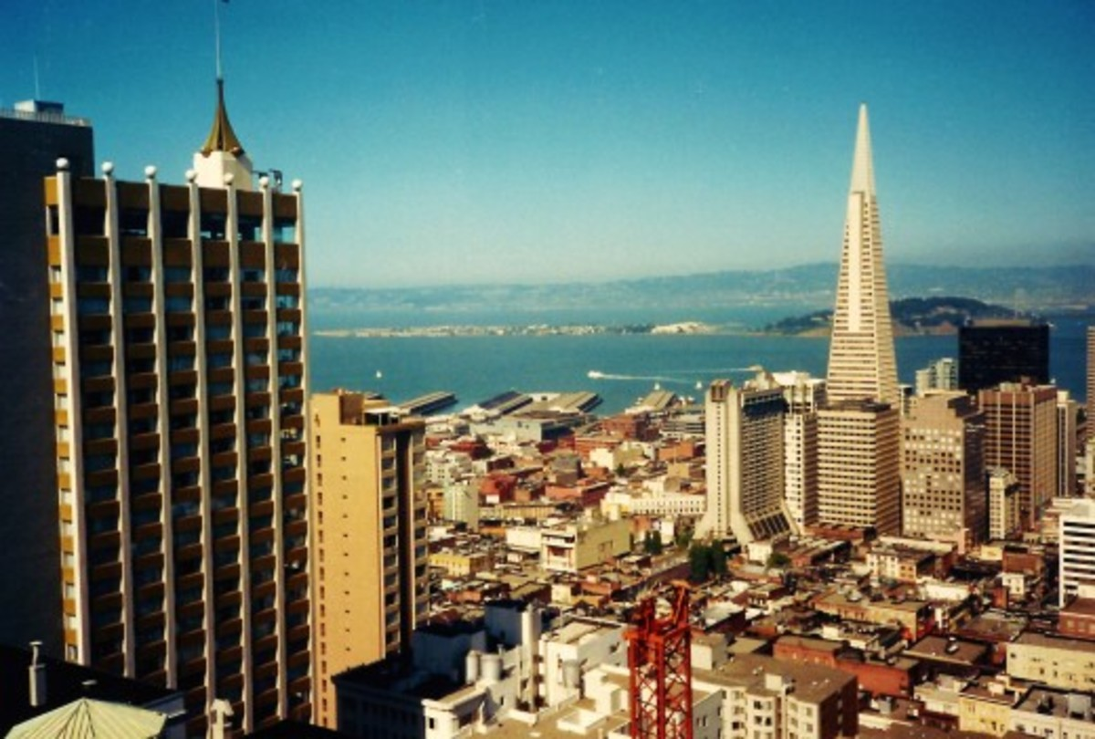 Photo of the Transamerica Pyramid and other buildings taken from the Top of the Mark, Mark Hopkins San Francisco Hotel.