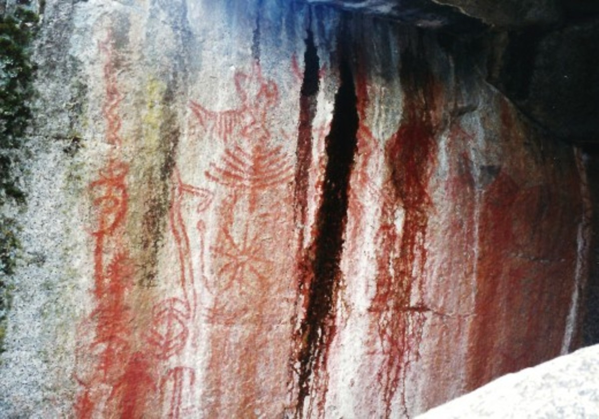 Indian pictographs found at Hospital Rock in Sequoia National Park