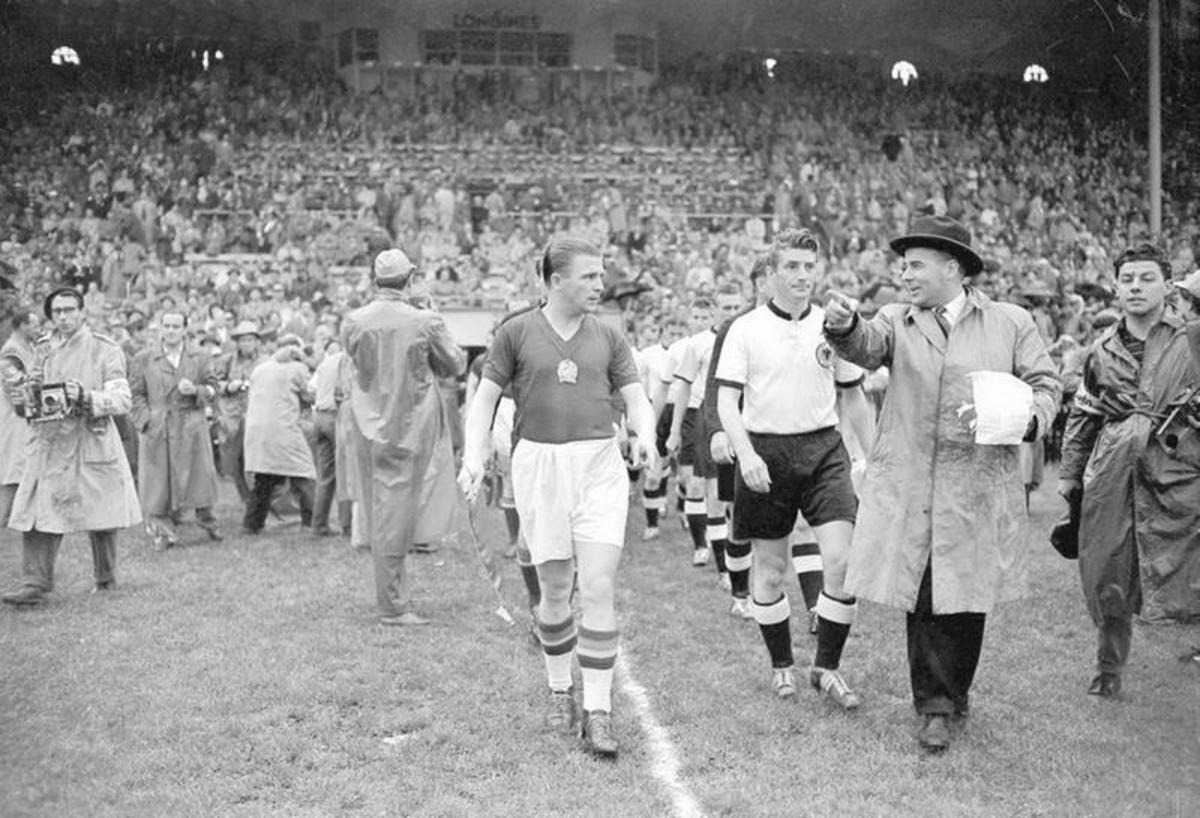 Puskás leads out the Magical Magyars (the Golden Team) for the 1954 World Cup Final.