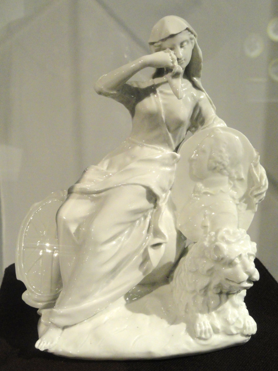 Britannia mourning the death of Frederick, Prince of Wales, c. 1751, St. James's Factory, London, glassy soft-paste porcelain - Gardiner Museum, Toronto