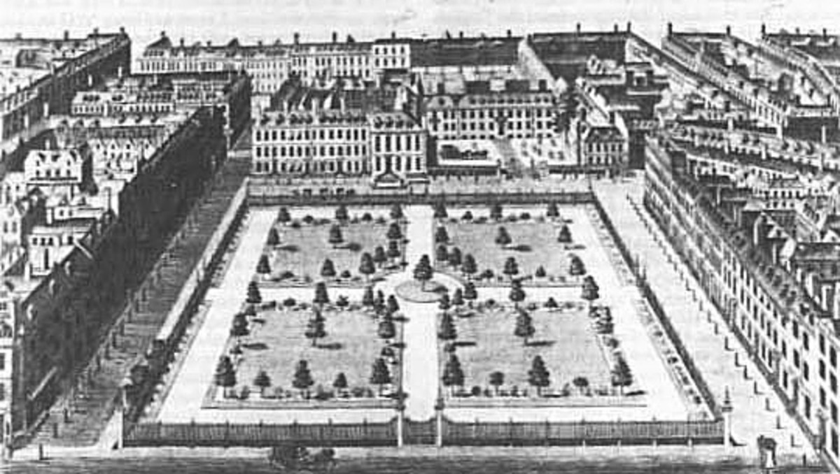 Leicester Square in 1750, looking north. The large house set back behind a forecourt at the north east corner is Leicester House, then the residence of Frederick, Prince of Wales, 1750
