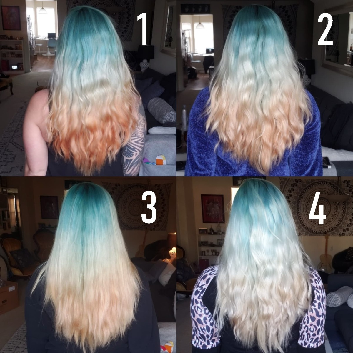 Fading process of the above dye using clarifying shampoo over the course of a month.