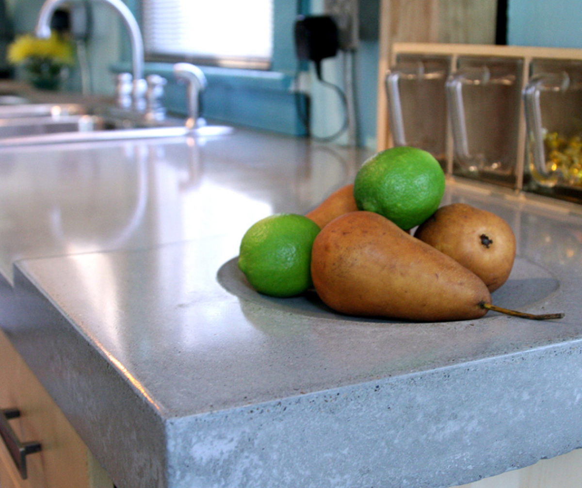 Concrete counters add a modern look to any kitchen.