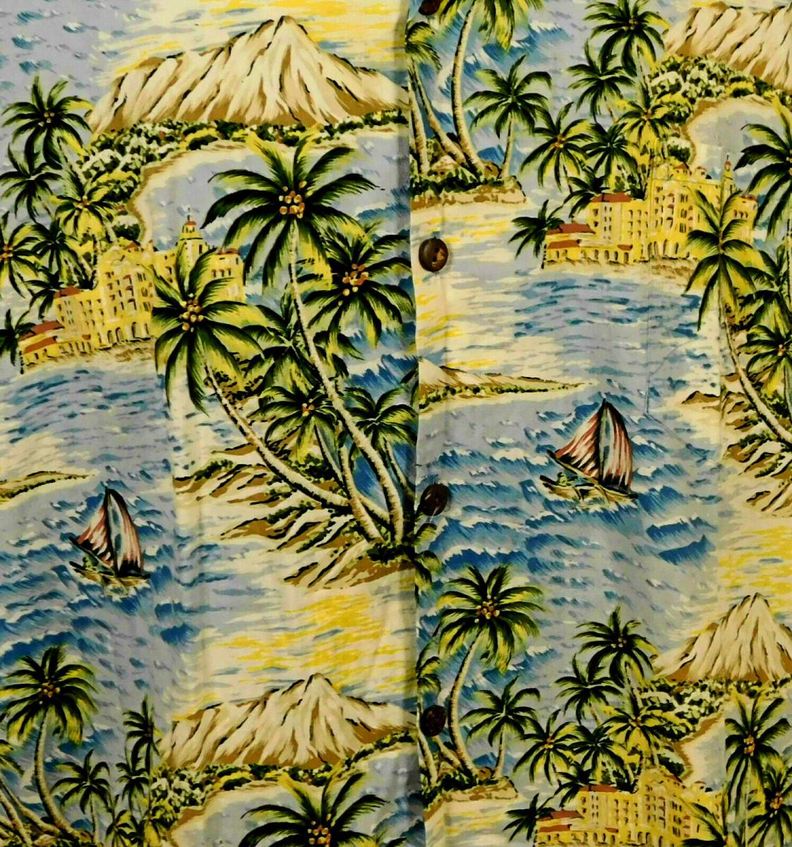 Print Design by Hawaiian Artist, Hilo Hattie Hawaiian Shirt.